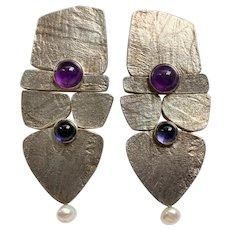 Large Geometric Sterling, Cultured Pearl, & Amethyst/Iolite Earrings