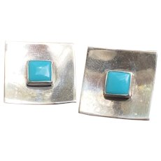 Modernist Native American Sterling with Turquoise Square Earrings