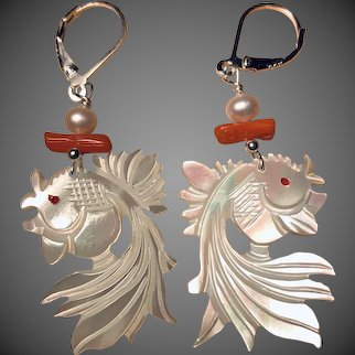 Carved Mother of Pearl Fish with Coral and Cultured Pearls Earrings