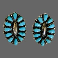 Vintage Chavez Zuni Petit-Point Turquoise in Sterling Earrings