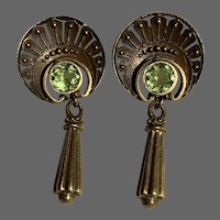 Antique Peridot and 14Kt Gold Drop Earrings