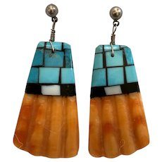 Vintage Native American Spiny Oyster Shell Earrings with Turquoise and Onyx Inlay