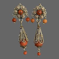 Antique 14K Gold and Coral Etruscan-Revival Drop Earrings