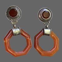 Antique Deco Carved Carnelian Octagons in Nickel Silver Dangle Earrings
