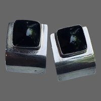 Streamline Moderne Post Earrings of Sterling and Onyx
