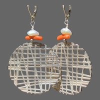 Sterling Nordic-Modern Discs with Coral and Cultured Keshi Pearls Earrings