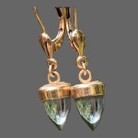 14Kt Gold Dangle Earrings with Aquamarine Bullet Drops