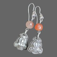 Antique Sterling Chinese Frog Bells Earrings with Carnelians