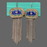 Vintage Turkish Anatoli Enamel and Sterling Byzantine Revival Foxtail Earrings