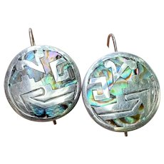 Vintage Taxco Sterling Medallion Earrings with Abalone Inlay and Tribal Motifs