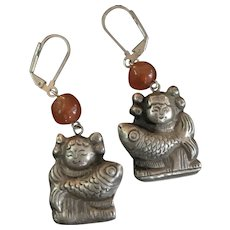 Antique Chinese Sterling Child Holding Fish Repousse Dangle Earrings