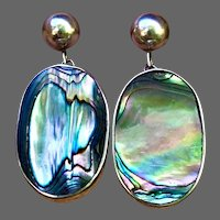 Vintage Abalone Ovals in Sterling Post-Dangle Earrings