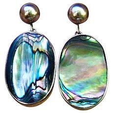 Vintage Abalone Ovals in Sterling Post-Dangle Earrings