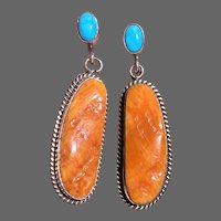 """Native American Spiny Oyster & Sleeping Beauty Turquoise Earrings, """"Running Bear"""" Mark"""