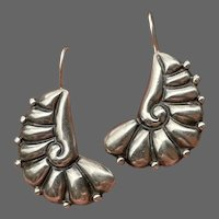 Taxco Sterling Deco Nautilus Earrings