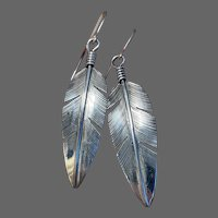 Sterling Feather Earrings Signed by Lena Platero, Navajo