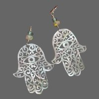 Extraordinary MOP Hand of Fatima Earrings with Fire Opals