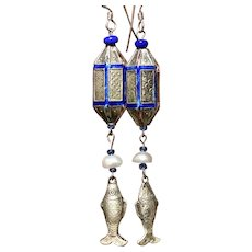 Antique Chinese Qing-Style Lanterns with Fish Dangle Earrings