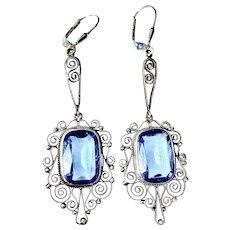 Antique 800 Silver Cannetille Earrings with Faux Blue Topaz