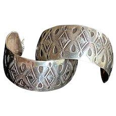 Vintage Navajo Hand-Stamped Sterling Half-Hoop Earrings