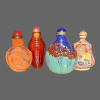 Quartet of Vintage Chinese Snuff Bottles, Cameo Glass, Famille Rose