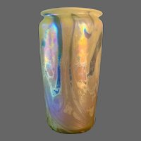 Rare Early Robert Eickholt Iridescent Tall Vase, Signed