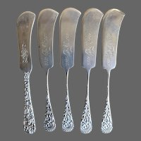 Five Very Antique U.S. Sterling Butter Knives with Monograms