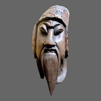 Antique Chinese Bamboo-Shoot Carving of Guan Yu