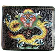 Vintage Chinese Cloisonné Dragon Cigarette Box