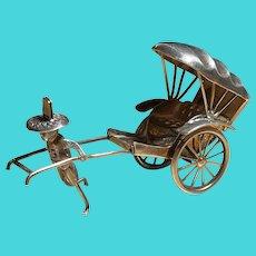 Vintage Sterling Miniature Rickshaw Man and Vacant Rickshaw