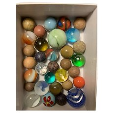 Box of 32 Vintage and Antique Marbles