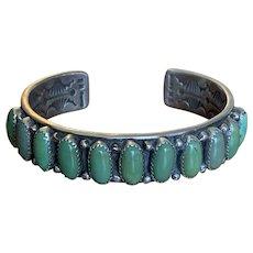Wilbert Benally Navajo Green Turquoise Sterling Bracelet