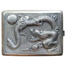 Chinese Sterling Repoussé Dragon/Moon Cigarette Case