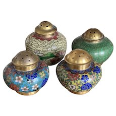 Lot of 4 Vintage Chinese Cloisonné Salt Cellars