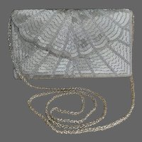 Vintage Silver Scallop-Flap Beaded Evening Purse with Long Strap
