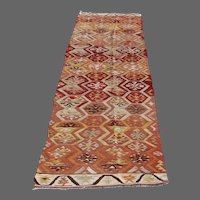 Turkish Adana Kilim Runner 10.5' x 2.2'