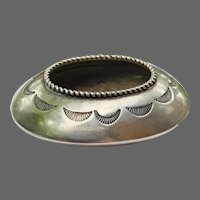 Antique Handmade Navajo Sterling Salt Bowl
