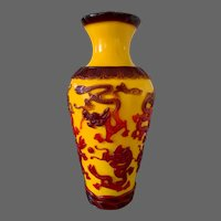 Antique Tall Chicken-Fat Yellow Peking Glass Vase with Ruby Dragons