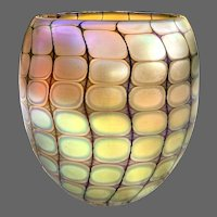 "Iridescent ""Reptilian"" Studio Glass Vase Signed Philabaum"