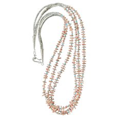 Pink coral, Reconstituted Turquoise, and Shell Heishe Necklace