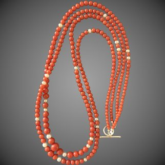 Antique Mediterranean Coral Bead Necklace with Cultured Pearls