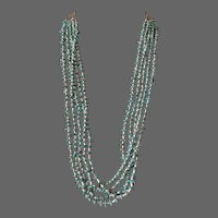 Old Pawn Navajo Turquoise and Shell Heishi 5-Strand Necklace