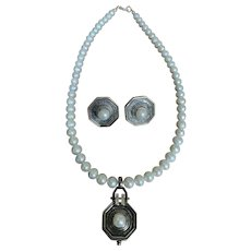 Sterling and Cultured Pearl Pendant Necklace & Earrings, Set