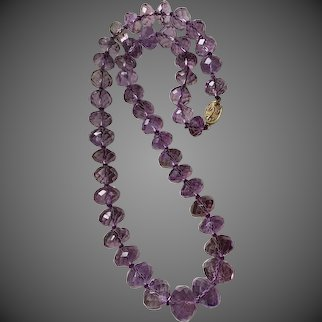 Large Faceted Hand-cut Amethyst Beads Estate Necklace