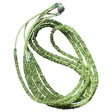Three-strand Peridot Heishe Necklace with Seed Beads & Sterling Clasp