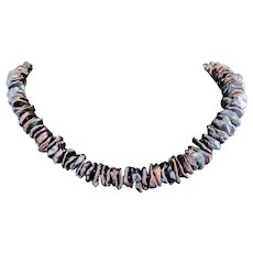 Cultured Peacock Keshi Pearls Artisan Choker Necklace