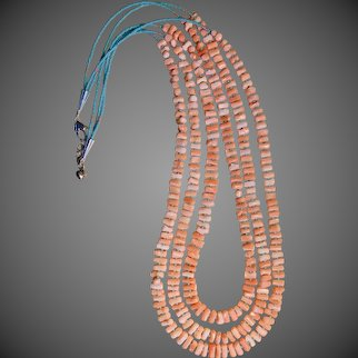 Angle-Skin Coral Triple-Strand Artisan Necklace