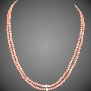 Natural Pink Coral and Cultured Pearl Necklace