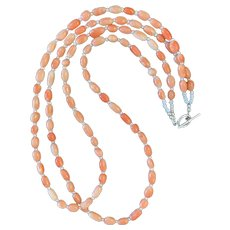 Vintage Pink Coral and Cultured Pearl Artisan Necklace
