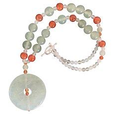 Jade and Carnelian Pendant Necklace